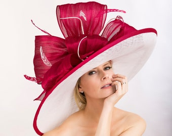 9761e4b10 Large hat. Kentucky derby hat. Derby hat. Designer hat. Red hat. White hat.  Red hat. Races. Royal ascot hat. Wedding hat.