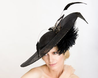 Feathers /& Wool Cocktail Evening Opera Red Carpet Hollywood Regency Waldorf Pillbox Glam Hat