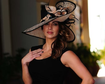 54dbf652ed199 Formal black and peach hat.Kentucky Derby hat. Royal ascot hat. Derby hat. Black  hat. Formal hat for races