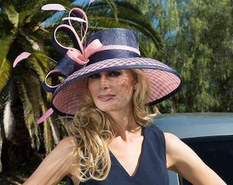 7c60ecf2 Kentucky Derby hat. Derby hat. Royal Ascot hat. couture hat. Designer hat.  Wedding hat Navy hat. Pink hat. women hat