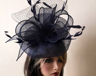 7ed431a8c4fbc Kentucky derby blue fascinator. Derby hat. Blue hat fascinator. Royal ascot  hat. Del mar races hat