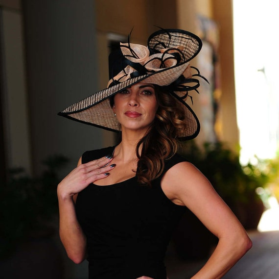 Formal black and peach hat.Kentucky Derby hat. Royal ascot  695cba8abfe