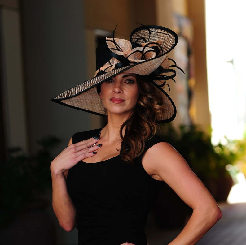 Formal black and peach hat.Kentucky Derby hat. Royal ascot  9f2a6838894