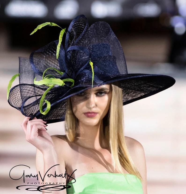 2017 collection.Navy blue wide brim hat Fashion Hat Derby  14e2291a25b8