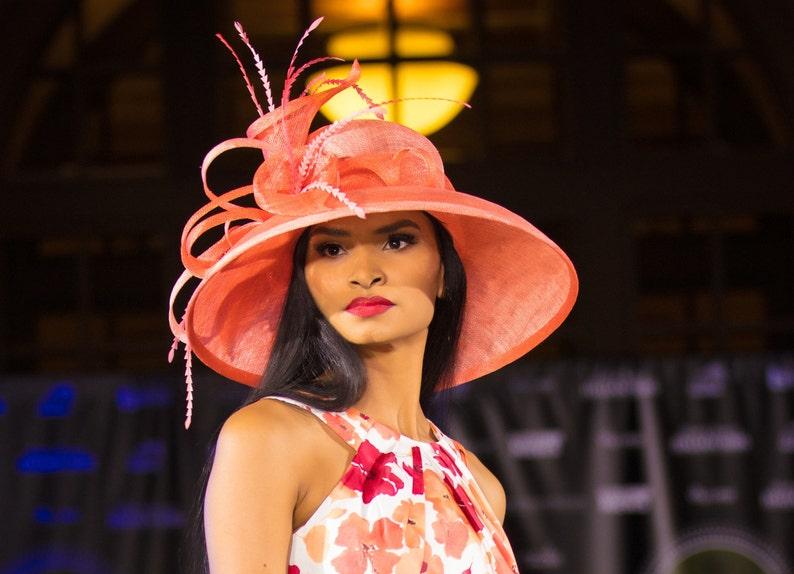 656da2dd Couture Hat. Coral hat. Kentucky Derby hat. Derby hat. Royal Acot hat.  Races, Wedding, Dubai fashion, Fashion, Women hat, Designer hat