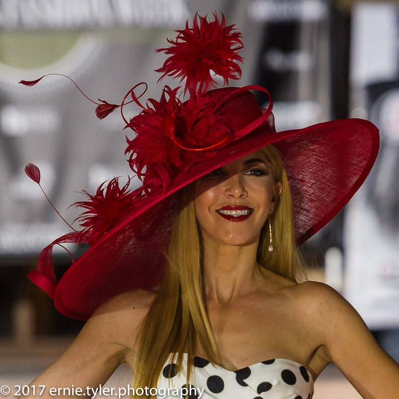 2018 collection.Designer hat Couture hat. Red hat. Kentucky  bcc671825cac