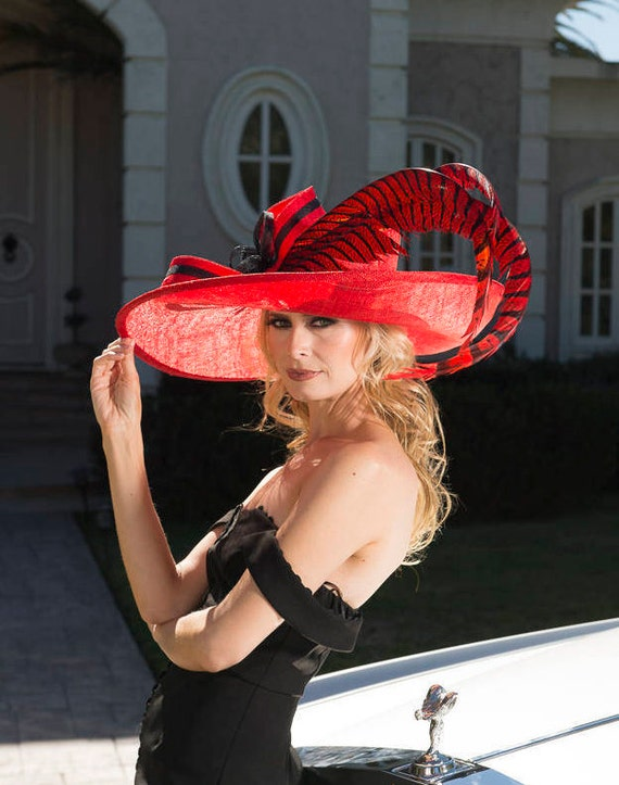 ed25281334e 2018 collection. Designer hat. Red hat. Kentucky Derby hat.