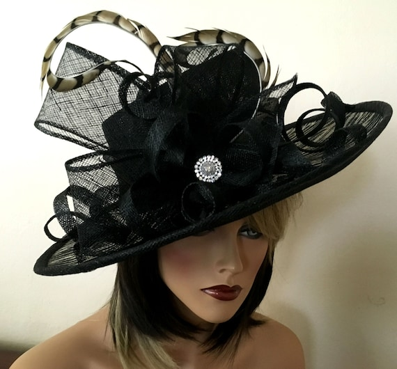 737b3f0ae1155 Kentucky Derby hat. Del Mar wide brim hat. Formal hat. Black