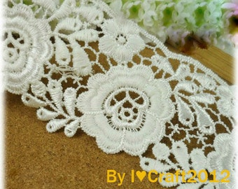 Off White Venice Lace Trim Rose Embroidered Lace 2 Inches Wide 1 Yard Wedding Dress Costume Headware DIY Crafting Supplies