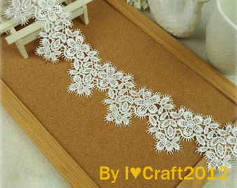 White Venice Lace Chic Flower Eyelash Lace Trim 2.36 Inches Wide 1 Yard Costume Headware Supplies