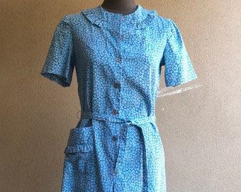 Vintage blue cotton tea dress