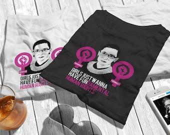 Notorious RBG Baby Bodysuit Girls Just Wanna Have Fundamental Human Rights  SCOTUS Pro-Choice Feminist Bodysuit
