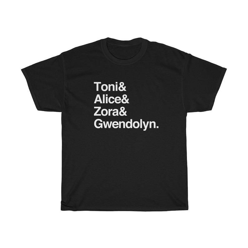 Custom Jazz Genres Helvetica List and Black Women Writers Helvetica List T-Shirt Black Creators