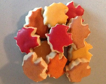 2 dozen Mini Fall Maple Leaf Sugar Cookies