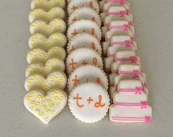 2 Dozen Mini Bridal Shower / Wedding Themed Sugar Cookies