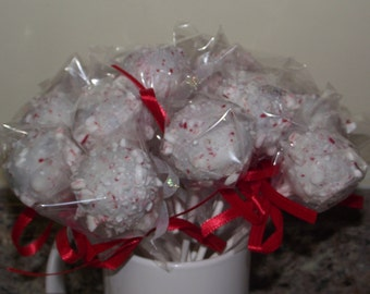 One dozen peppermint candy cake/brownie pops
