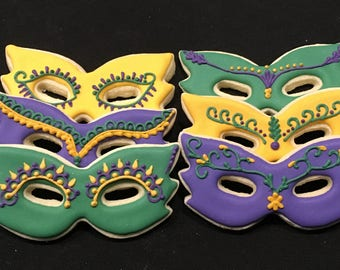 Mardi Gras Mask Sugar Cookies