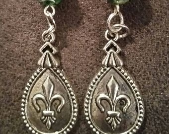 Mardi gras colors with tear drop fleur de lis charms