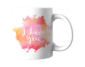 Watercolor I love you 11oz ceramic mug