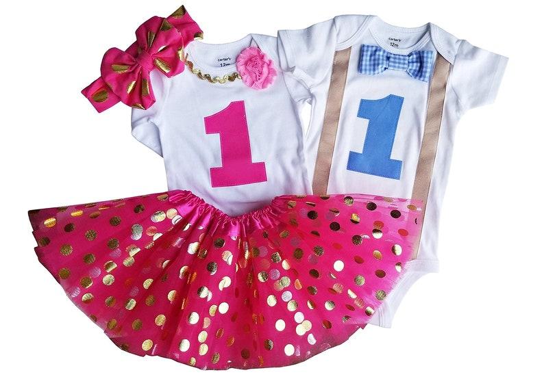 e8542ab68 Boy Girl Twin Birthday Set Blue Pink Tutu Set | Etsy