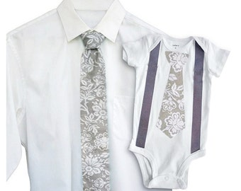 Father Son Tie Set - Gray Damask[TONTGD]