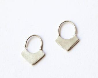 Small hoop sleeper earrings, sterling silver hoops, geometric earrings, minimal design, unisex sleepers, gift