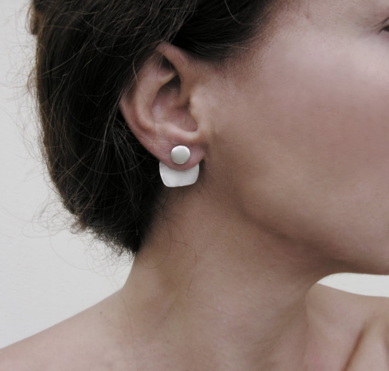 Geometric ear jackets sterling silver front and back image 0