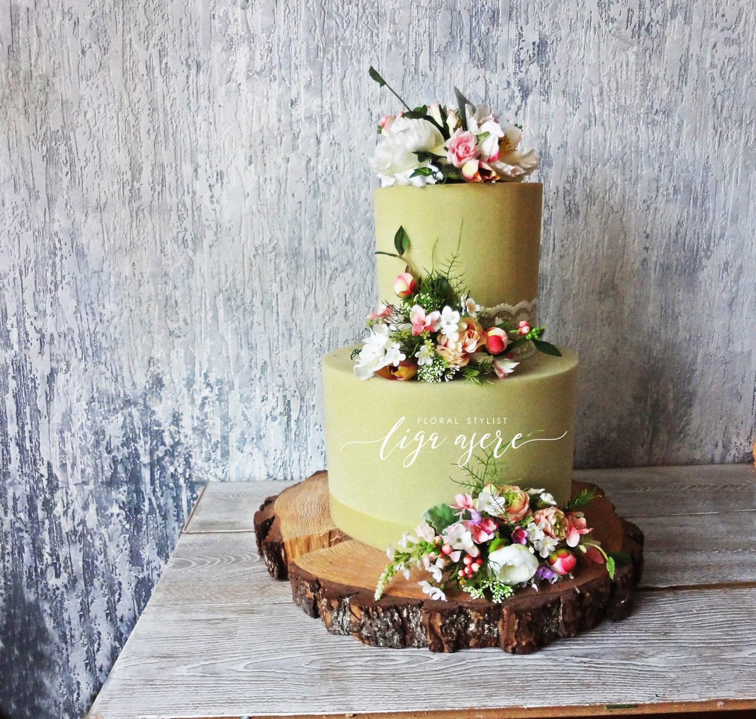 Romantic Spring Cake Flowers Pastels Pink Peach Shaby Chic
