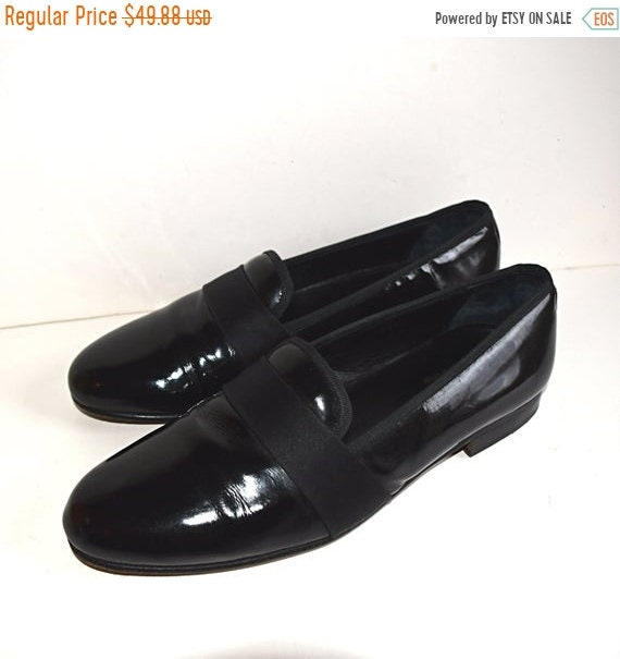 e5fe85ad2af ON SALE Neiman Marcus Tuxedo Loafers Black Patent Leather Soles Handmade  Size Men's 10 Slip On SPAIN Shoes Formal Dress Leather Soles Refurb
