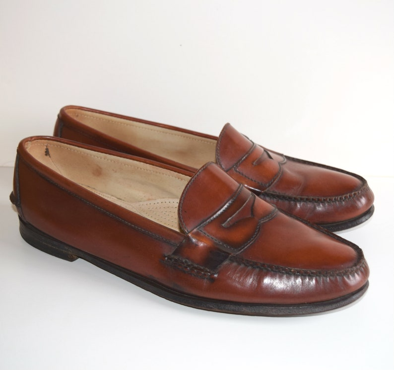 f67bf5710985 Size 15 Weejuns Bass Loafers Burnished Brown Penny Loafers