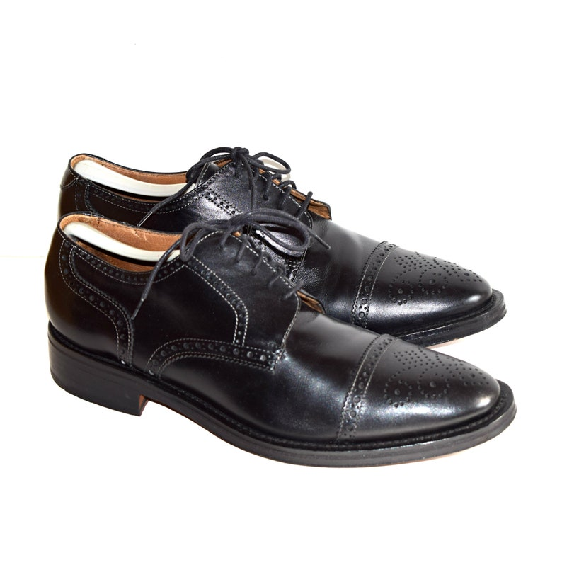 bc630b995f34c Black Italian Shoes Men's Size 9 Pronto-Uomo Shoes Made In Italy Quality  Leather Shoes Full Brogue Wingtips Leather Soles Good Year Welt