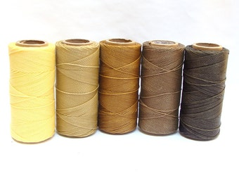 Macrame Cord - Waxed Polyester Thread - Set of 5 Colors - 10 yards each - CAPPUCCINO