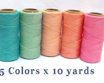 Macrame Cord - Waxed Polyester Thread - Bracelet Cord - Set of 5 Colors - 10 yards each - CANDY
