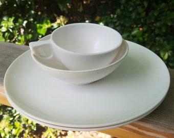 Vintage Sun Valley MELMAC  dishes - Melamine -  1 tea/coffee, 1 bowl, 2 plates all white- mid century/ retro