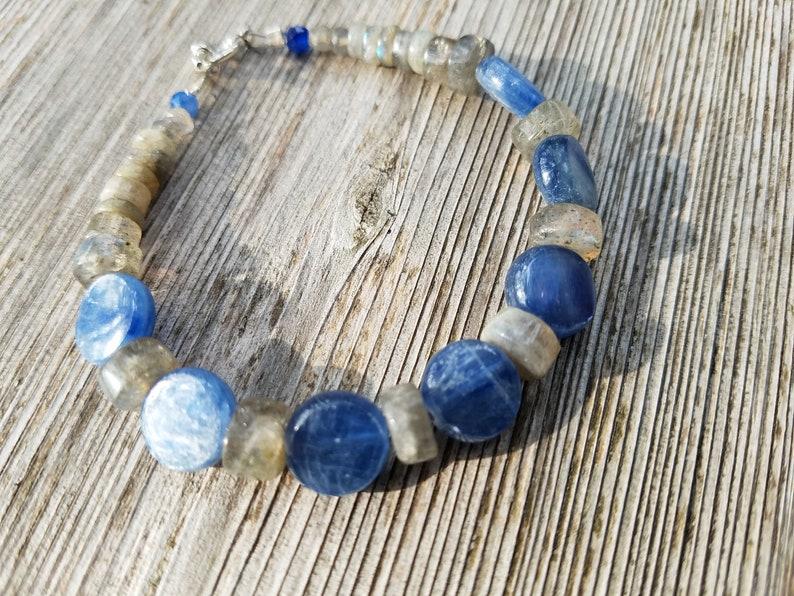Boho Sundance style organic jewelry. S.S Natural gemstones Royal denim blue KYANITE LABRADORITE BRACELET: bright sky blue