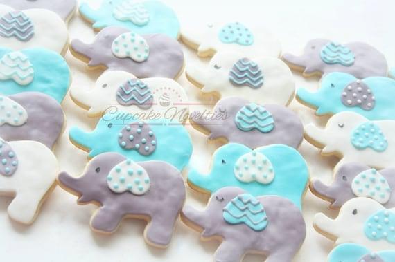 Elephant Baby Shower Boy Baby Shower Blue Gray Elephant Etsy