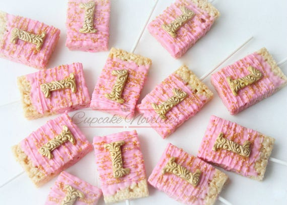 Pink And Gold First Birthday Favors Cookies Princess Decoration