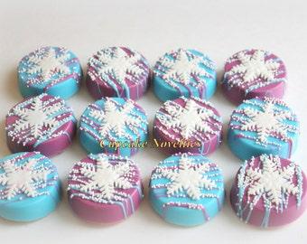 Snowflake Birthday Snowflake Cookies Chocolate Oreos Winter Cookie Snowflake Oreos Purple Blue White Winter Wonderland Snowflake Party Favor