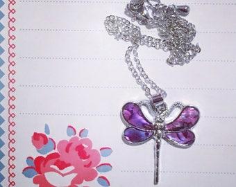 Sparkly Enamel Butterfly Necklace