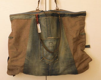 Candy Bag_ Bag in pure new wool and jeans_ hand made_ single piece