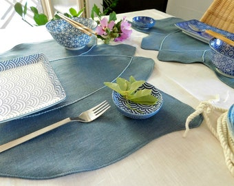 Linen placemats - handmade - tulip blu - 3 ready for shipping