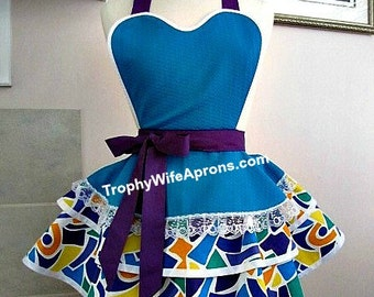 Apron number 4054 - Turquoise blue over abstract design ruffled retro apron