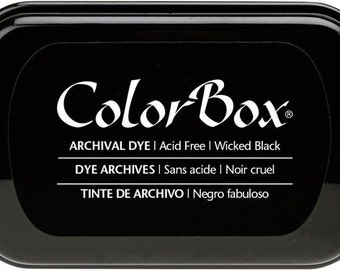 Wicked Black ARCHIVAL DYE Colorbox INKPAD Permanent Ink Stamp Pad Rubber Stamps
