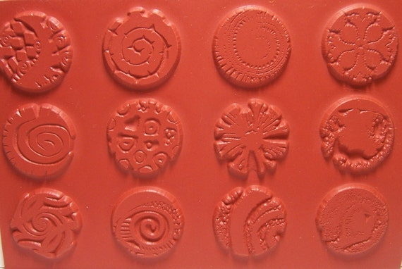 """12pc set Round Unmounted 1/"""" Texture Rubber Stamps for Polymer Clay PMC Paper"""