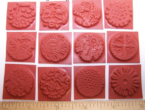 "Shrink Art New Set of 6 Mini 1/"" Circle Unmounted Rubber Stamps for Clay Paper"