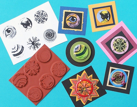 3-unique UNMounted rubber stamps! STAMPING IS FUN