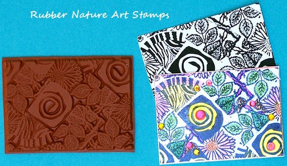 Bold Swirl Unmounted RUBBER Stamp Great Deep Etched Texture for stamping Polymer PMC Wood and Paper Paperclay Fabric