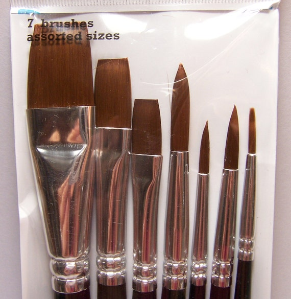 Watercolor /& Oils 7 New Artist Paint Brushes Round /& Flat Synthetic 4 Acrylic