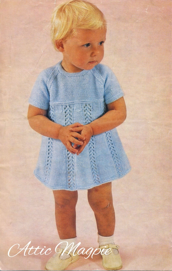 a496eac1c Vintage Baby Knitting Pattern Girl s Knitted Dress PDF