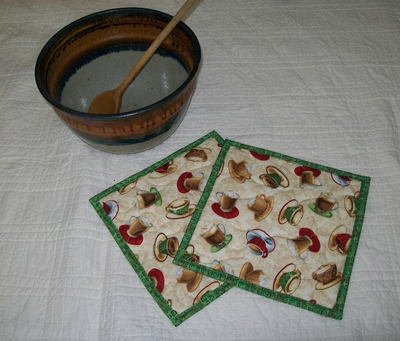 Coffee Cup Pot holder cup and saucer hot pad specialty coffee espresso potholder bridal hostess gift green red cream tan brown